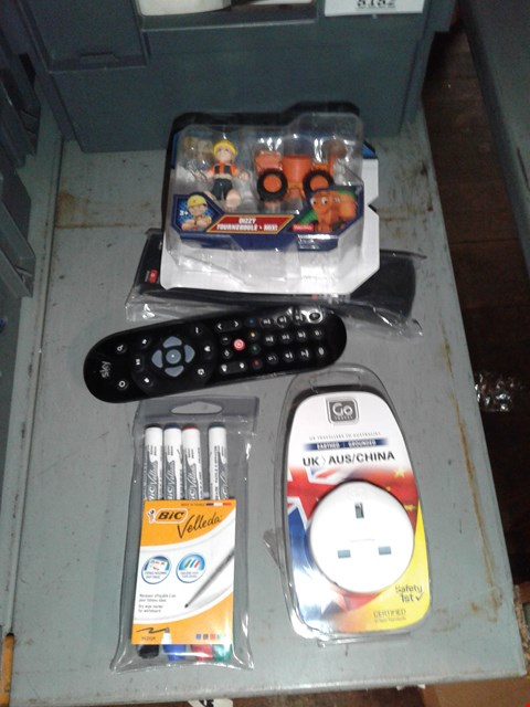 Lot 8184 BOX OF ASSORTED UTEMS TO INCLUDE - TV REMOTE - TRAVELING PLUGS - TOYS
