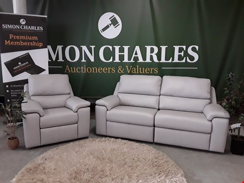 Lot 3003 QUALITY BRITISH MADE, HARDWOOD FRAMED DOVE GREY LEATHER POWER RECLINING 3 SEATER SOFA AND MANUAL RECLINING ARMCHAIR