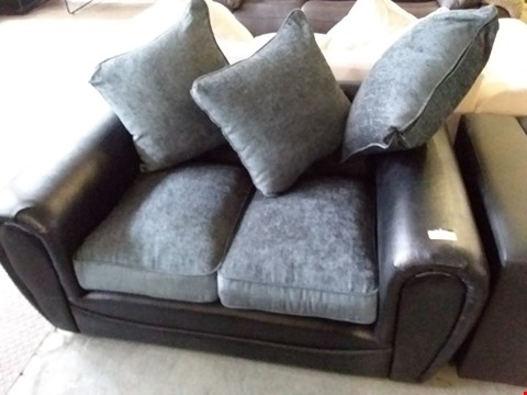 Lot 44 DESIGNER GREY FABRIC WITH BLACK FAUX LEATHER  2 SEATER SOFA WITH SCATTER CUSHIONS