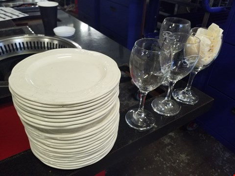 Lot 172 LOT OF APPROXIMATELY 30 COOKWARE ITEMS INCLUDE 20 SIDEPLATES AND 20 WINE GLASSES