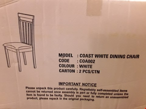 Lot 7323 BOXED PAIR OF GRADE 1 COAST WHITE DINING CHAIRS (1 BOX)