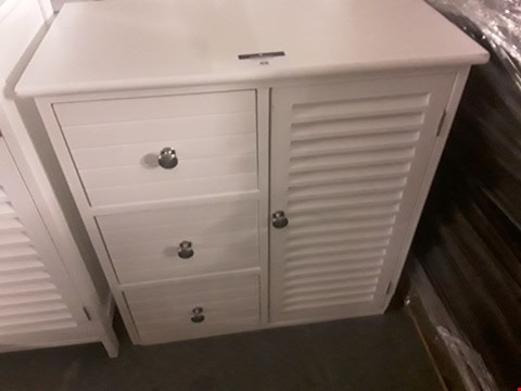 Lot 48 DESIGNER WHITE CUPBOARD WITH 3 DRAWERS & LOUVERED CUPBOARD