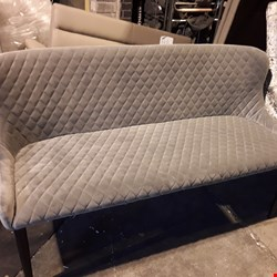 Lot 542 DESIGNER GREY PATTERNED FABRIC TWO SEATER SOFA