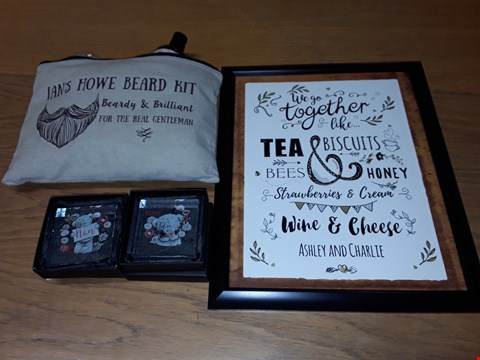 Lot 86 LOT OF 4 ASSORTED PERSONALISED ITEMS TO INCLUDE BEARD KIT AND SLOGAN ART FRAMED PICTURE