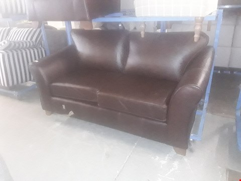 Lot 2 QUALITY BRITISH DESIGNER BROWN LEATHER SUITE, COMPRISING, THREE SEATER SOFA & EASY CHAIR