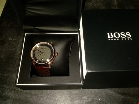 Lot 2089 BOSS MASTER GREY TEXTURED AND ROSE GOLD DETAIL DATE DIAL BROWN LEATHER STRAP MENS WATCH RRP £209.00