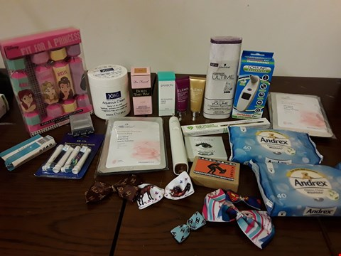 Lot 2141 BOX OF APPROXIMATELY 24 HEALTH AND BEAUTY ITEMS TO INCLUDE TOO FACED BORN THIS WAY FOUNDATION AND ELEMIS EXOTIC BLOOMS HAND AND NAIL LOTION