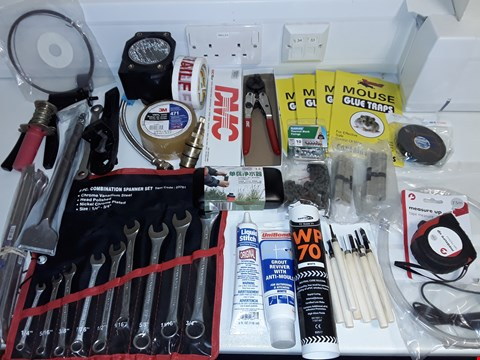 Lot 6479 LARGE QUANTITY OF ASSORTED HOUSEHOLD ITEMS TO INCLUDE VARIOUS SPANNERS, GROUT RECEIVER, 3M VINYL TAPE AND MOUSE GLUE TRAPS
