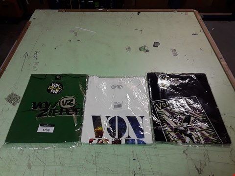 Lot 1758 LOT OF APPROXIMATELY 10 ASSORTED DESIGNER CLOTHING ITEMS TO INCLUDE A VON ZIPPER PLACE IN THE SUN WHITE VEST M, A VON ZIPPER BLACK PRINT T-SHIRT L, A GREEN VON ZIPPER PRINT T-SHIRT L ETC