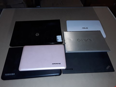 Lot 21 LOT OF 6 ASSORTED LAPTOPS TO INCLUDE LENOVO, HP AND TOSHIBA