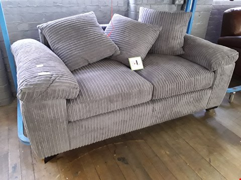 Lot 17 DESIGNER GREY JUMBO CHORD TWO SEATER SOFA WITH SCATTER CUSHIONS