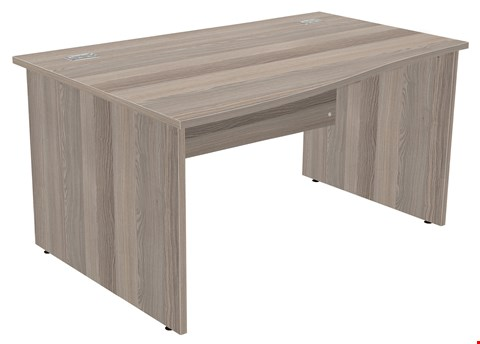 Lot 89 BRAND NEW BOXED FRACTION PLUS PANEL END RIGHT HAND 140 WAVE WORKSTATION - GREY OAK RRP £289.00