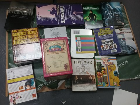 Lot 12079 A BOX OF APPROXIMATELY 18 ASSORTED DVD/BOXSETS TO INCLUDE A HARRY POTTER DVD AND A POLICE ACADEMY DVD
