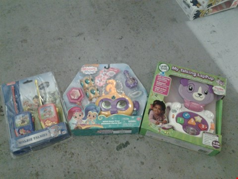 Lot 386 3 ASSORTED PRODUCTS TO INCLUDE; LEAP FROG MY TALKING LAPPUP, SHIMMER AND SHINE AND PAW PATROL WALKIE TALKIES