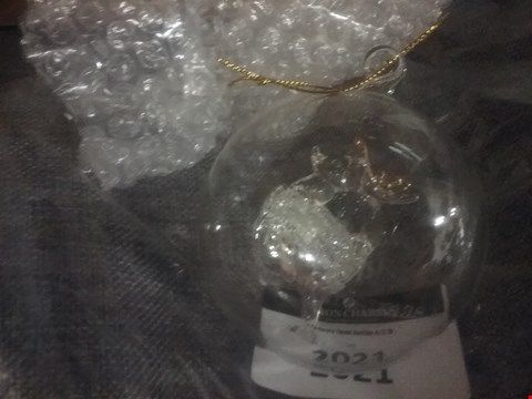 Lot 159 BOXED GRADE 1 PERSONALISED GLASS ANGEL BAUBLE, PERSONALISED TIME FLIES WHEN YOUR HAVING FUN AND A PERSONALISED REINDEER GLASS BAUBLE