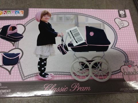 Lot 2146 LOT OF 2 GRADE 1 ITEMS TO INCLUDE PERSONALISED FEATHER BAUBLE, HAUCK CLASSIC DOLL PRAM RRP £73