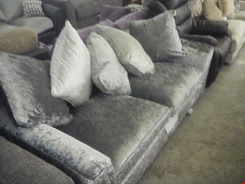 Lot 71 DESIGNER SILVER CRUSHED VELVET EFFECT FABRIC 3 SEATER SOFA WITH CUSHIONS