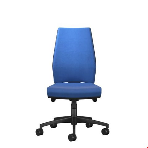 Lot 9107 BRAND NEW BOXED ROME HIGH BACK CHAIR - BLACK FRAME BLUE FABRIC