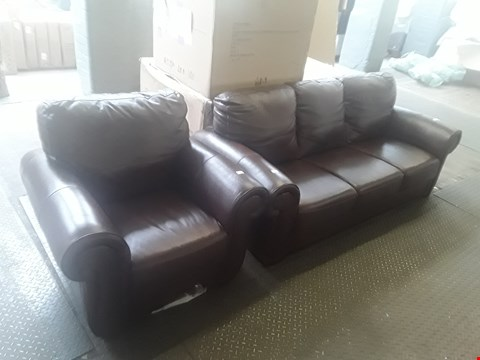 Lot 30 DESIGNER WALNUT FAUX LEATHER THREE PIECE SUITE CONSISTING OF A THREE SEATER, TWO SEATER AND CHAIR