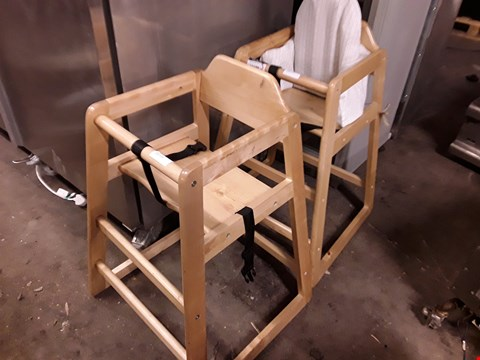 Lot 15054 TWO WOODEN HIGH CHAIRS