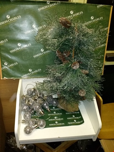 Lot 10034 AILSE DOUGLAS FROSTED PRE LIT TABLE TOP TREE AND BOXED BATTERY OPERATED 20 BEADED BULB STRING LIGHTS