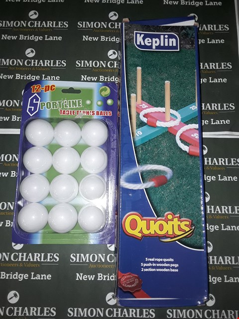 Lot 621 LOT OF 5 ASSORTED PACK OF SPORTLINE TABLE TENNIS BALLS AND 2 PACKS OF KEPLIN QUOITS