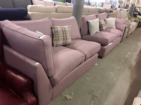 Lot 35 TWO QUALITY DESIGNER BLUSH TWEED FABRIC SOFA SECTIONS