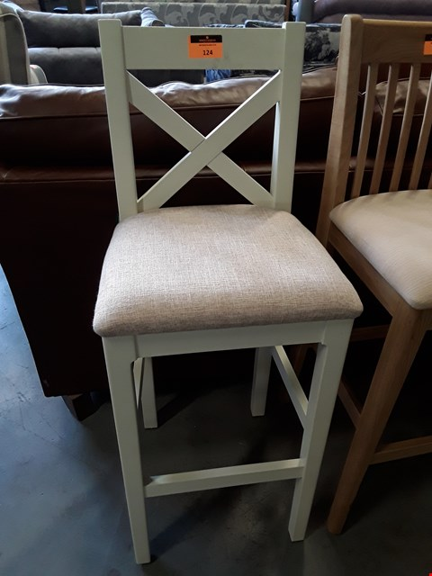 Lot 369 DESIGNER WHITE PAINTED BAR STOOL