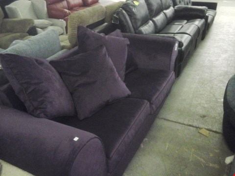 Lot 74 DESIGNER PURPLE FABRIC 2 SEATER SOFA BED WITH CUSHIONS