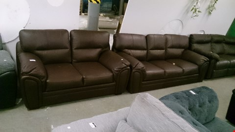 Lot 1203 DESIGNER BROWN LEATHER 3 SEATER SOFA AND 2 SEATER SOFA
