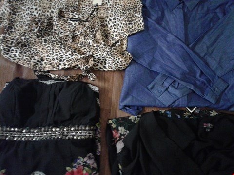 Lot 9384 4 BOXES OF BRANDED CLOTHING MEN AND WOMENS SHIRTS, BLOUSES DRESSES AND FROCKS