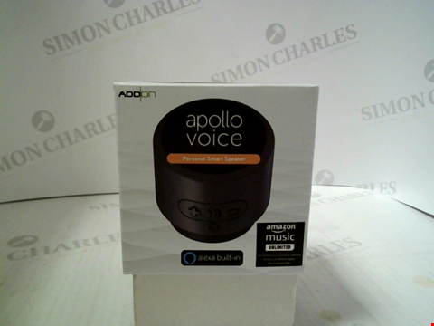 Lot 340 BRAND NEW ADD ON APOLLO VOICE PERSONAL SMART SPEAKER WITH ALEXA BUILT IN