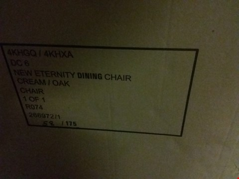 Lot 138 BOXED PAIR OF ETERNITY FAUX LEATHER DINING CHAIRS - CREAM/OAK