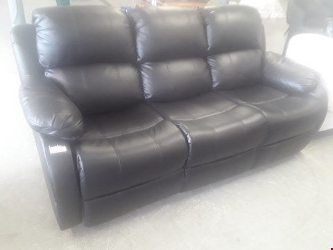 Lot 67 DESIGNER ANTON BROWN FAUX LEATHER MANUSL RECLINING THREE SEATER SOFA RRP £529.99