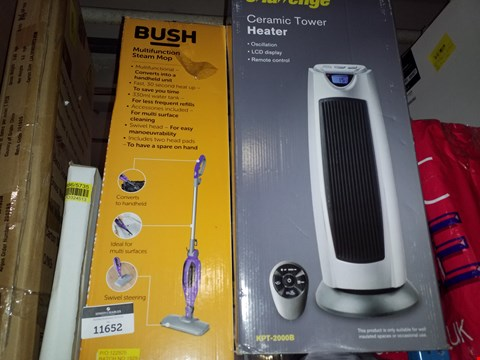 Lot 11652 A BUSH MULTIFUNCTION STEAM MOP AND A CERAMIC TOWER HEATER