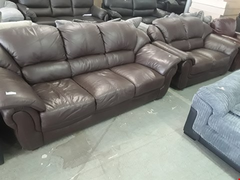 Lot 73 DESIGNER BROWN LEATHER THREE & TWO SEATER SOFAS