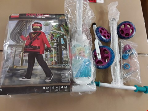 Lot 1398 LOT OF 2 ASSORTED BRAND NEW ITEMS TO INCLUDE DISNEY FROZEN 3 WHEEL SCOOTER, LEGO NINJAGO KAI DRESS UP COSTUME