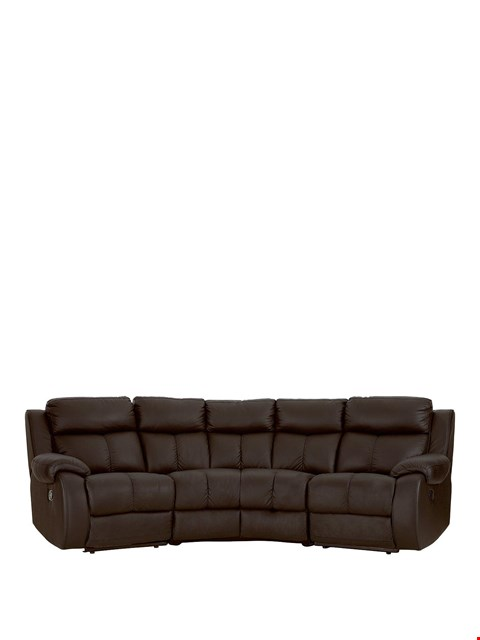 Lot 464 BRAND NEW DESIGNER CARLO CHOCOLATE FAUX LEATHER MANUAL RECLINING CORNER GROUP  RRP £1799