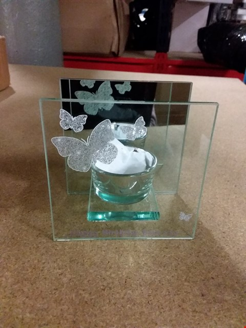 Lot 3240 BOXED PERSONALISED BUTTERFLY TEALIGHT HOLDER  RRP £16.99