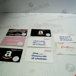 Lot 1 £202 WORTH OF ASSORTED GIFT CARDS TO INCLUDE: AMAZON, PANDORA, TESCO & CATH KIDSTON