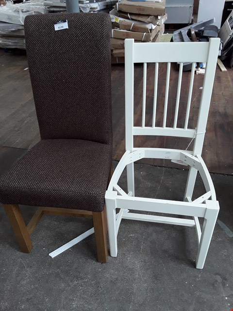 Lot 7086 TWO CHAIRS, WHITE SPINDLE BACK CHAIR FRAME AND BROWN FABRIC FULLY UPHOLSTERED CHAIR