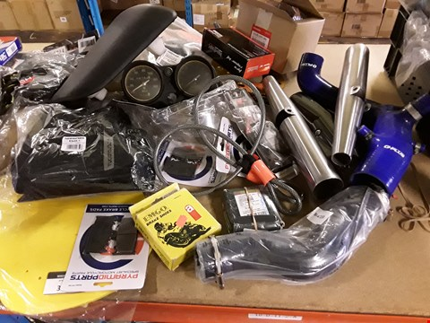 Lot 3048 LARGE QUANTITY ASSORTED MOTOR CYCLE PARTS, INCLUDING,  BRAKE PADS, SEAT, INSTRUMENT BINICLE, CABLE LOCK, PAIR BAFFLES, PIPES ETC,