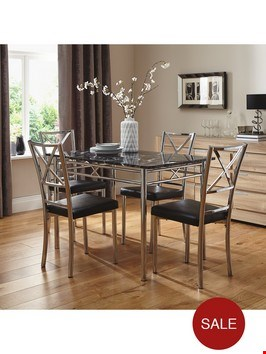 Lot 332 BOXED WHITE MARBLE-EFFECT DINING TABLE  RRP £379