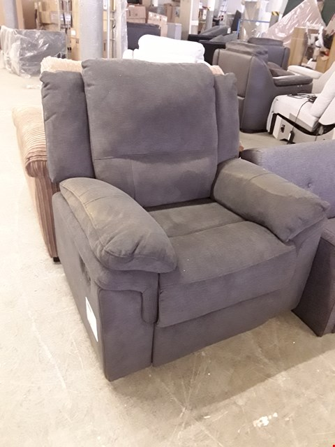 Lot 39 DESIGNER CHARCOAL FABRIC ALBION MANUAL RECLINING ARMCHAIR