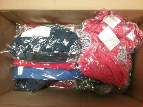 Lot 749 BOX OF APPROXIMATELY 20 ASSORTED CLOTHING ITEMS TO INCLUDE PULL ON JEANS, CREPE DRESSES, TOPS ETC