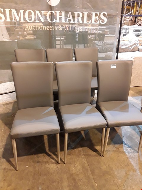 Lot 9055 SET OF SIX DESIGNER GREY FAUX LEATHER & CHROME DINING CHAIRS
