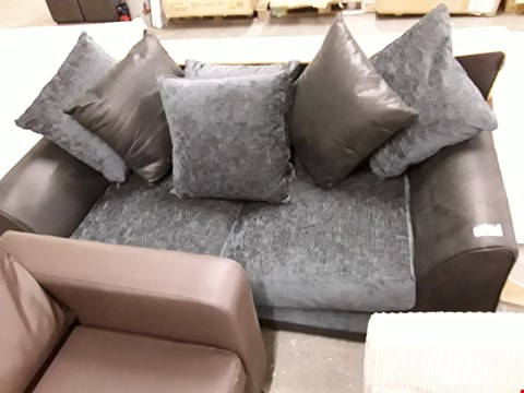 Lot 7252 DESIGNER BLACK FAUX LEATHER & FABRIC TWO SEATER SOFA WITH SCATTER CUSHIONS
