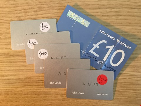 Lot 3 6 JOHN LEWIS GIFT VOUCHERS.  TOTAL VALUE £330