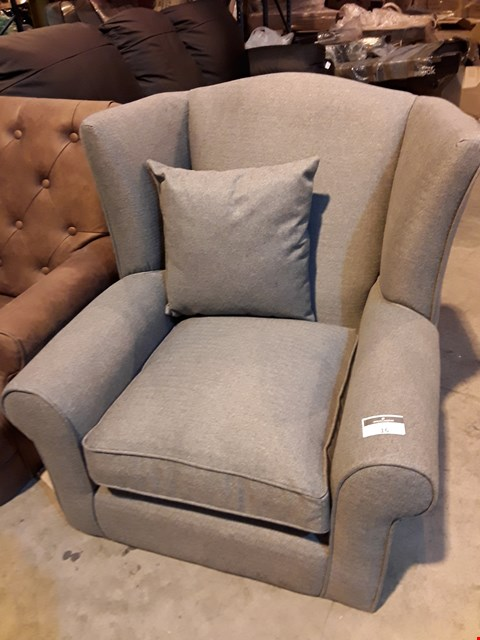 Lot 16 DESIGNER GREY FABRIC WINGED EASY CHAIR