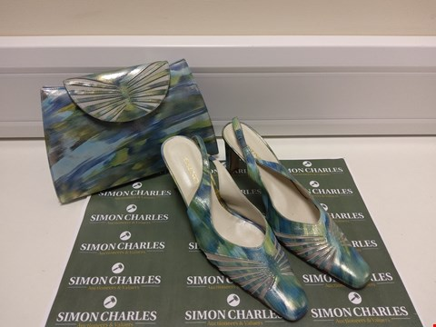 Lot 3023 PAIR OF ASINO GREEN/BLUE MIX HEELS WITH MATCHING CLUTCH BAG SIZE 40